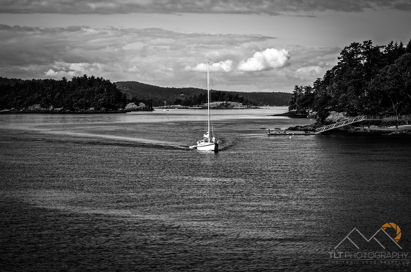 A sailboat making it's way through the channels of the San Juan Islands. Please Follow Me! https://tlt-photography.smugmug.com/