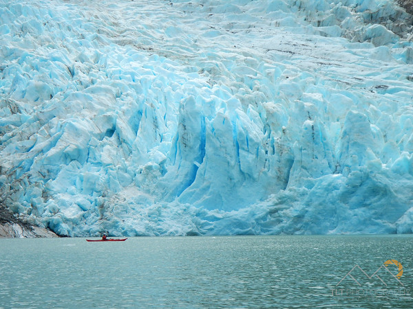 Our guide Rob paddling up to the Serrano Glacier, Chile. He is still several hundred yards away from it. Please Follow Me! https://tlt-photography.smugmug.com/