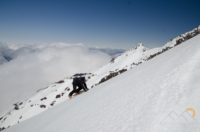 Chris Holm front pointing his way up the very steep West Rib route of Mt. Jefferson. Please Follow Me! https://tlt-photography.smugmug.com/