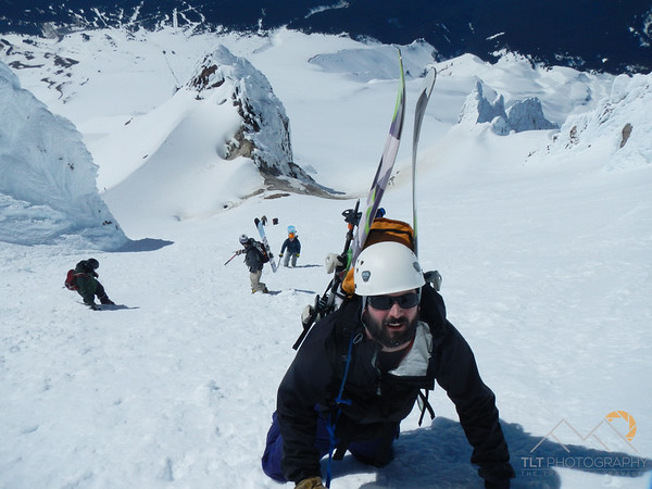 Graham, Mike D and Matt on the final push to the summit of Mt. Hood.  Mike D is helping a nervous climber find the safest way down the steep slope. Please Follow Me! https://tlt-photography.smugmug.com/