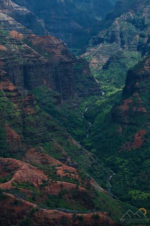Looking down at the Waimea River in the Waimea Canyon from the Waimea Canyon Lookout, Kauai. Please Follow Me! https://tlt-photography.smugmug.com/