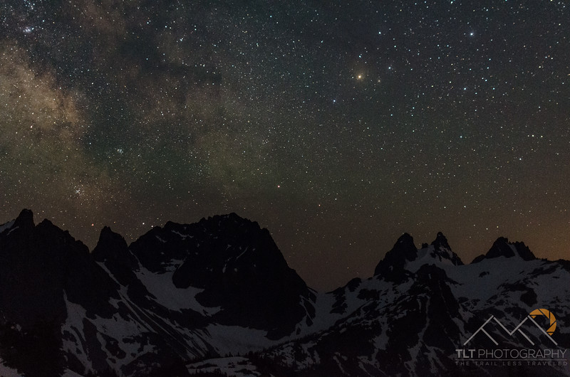 The stars and Milky Way over Chief Mountain and Chimney Peaks in the Alpine Lakes Wilderness from Tank Lakes. Please Follow Me! https://tlt-photography.smugmug.com/