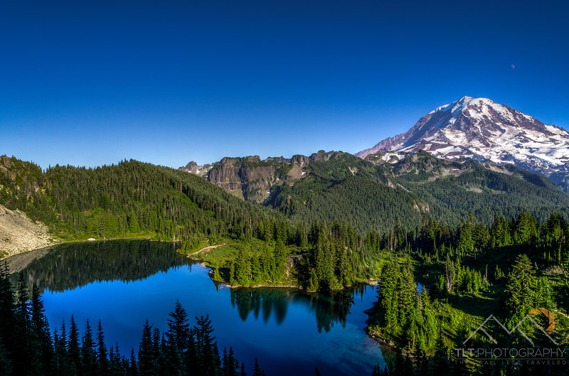 Looking over at Mt. Rainier from the trail up Tolmie Peak.