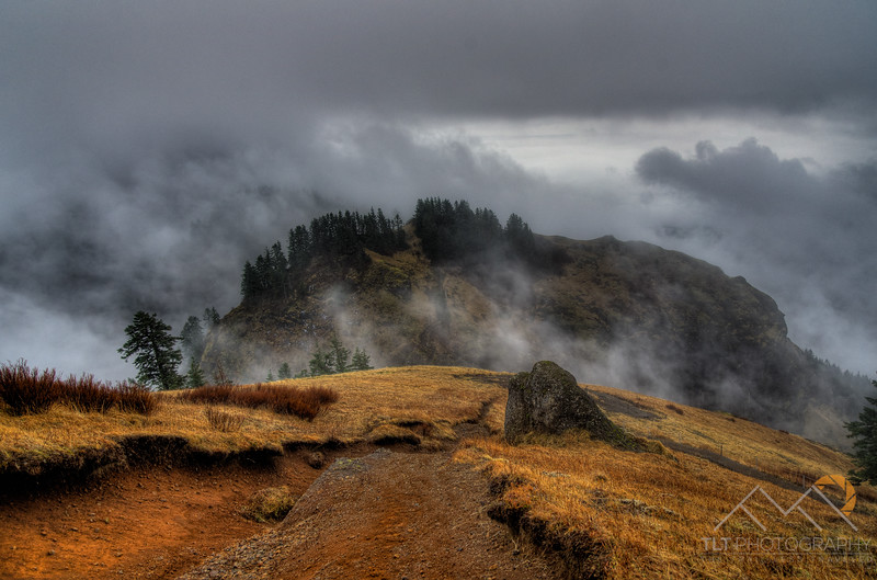 Whispy summit clouds on Saddle Mountain in the Coast Range of Oregon.