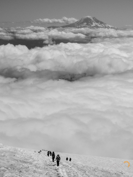 Mount Adams n the distance above the clouds from Camp Muir on Mount Rainier. Please Follow Me! https://tlt-photography.smugmug.com/