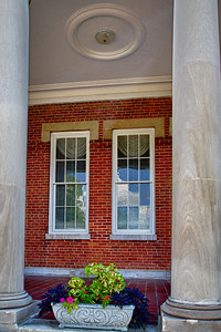 Framed The flowers and the windows are framed by the columns at the Southwest Virginia Mental Health Institute in Marion Virginia.