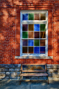 Colorful Window and Bench First United Methodist Church Marion Virginia