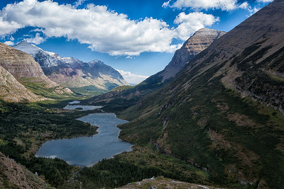 Bull Head Lake from Swiftcurrent Pass Trail.