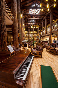 Glacier Lodge Lobby Lined with Douglas-fir columns 40 feet tall and between 36 and 42 inches in diameter. Each column was brought in by rail from the Pacific Northwest because trees in Montana rarely grow so large. A total of 60 such trees were used, with Douglas-fir in the lobby and cedars for the exterior.