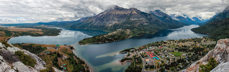 Waterton Lakes Alberta Taken from Bear's Hump above town. Middle Waterton Lake is on the left and Upper Waterton Lake is on the right. The US is just a few miles down Upper Waterton Lake.   This is a high resolution image that can be printed very large.
