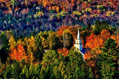 New England Church in Fall