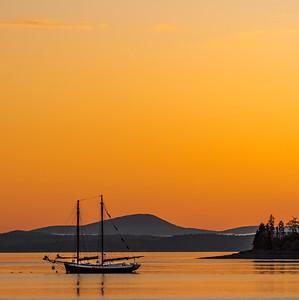Sailboat at Sunrise in Maine