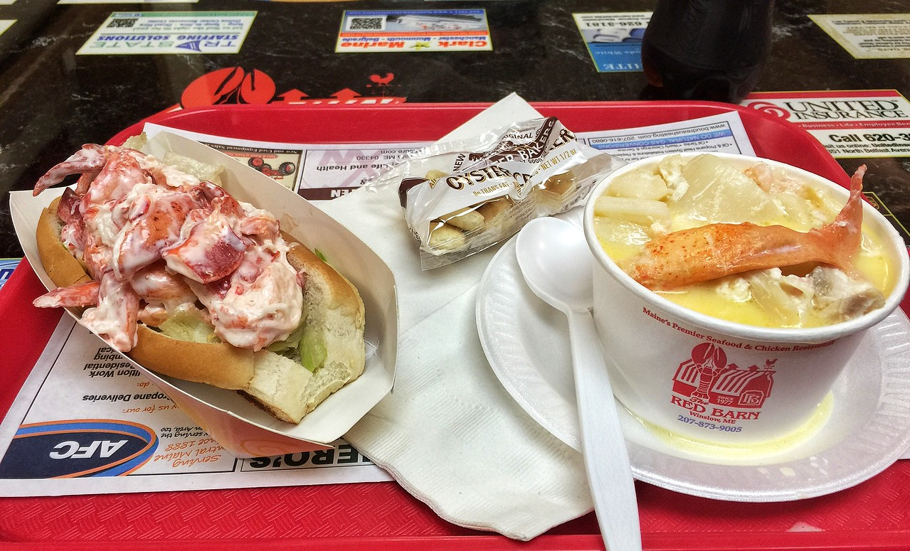 My first lobster roll (with seafood stew) at Red Barn, Augusta, Maine