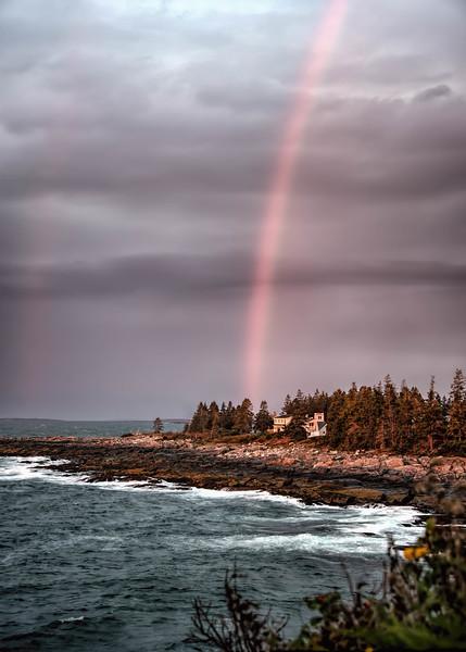 Rainbow behind •Pemaquid Point Lighthouse, Bristol, Maine