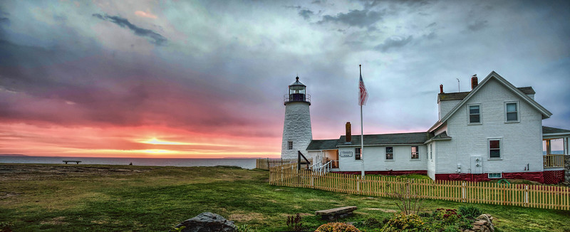 Sunrise barely beat the approaching storm on a crisp Autumn morning at Pemaquid Point Lighthouse