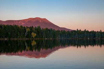 Alpenglow on  Mt. Katahdin and Kidney Pond, Baxter State Park