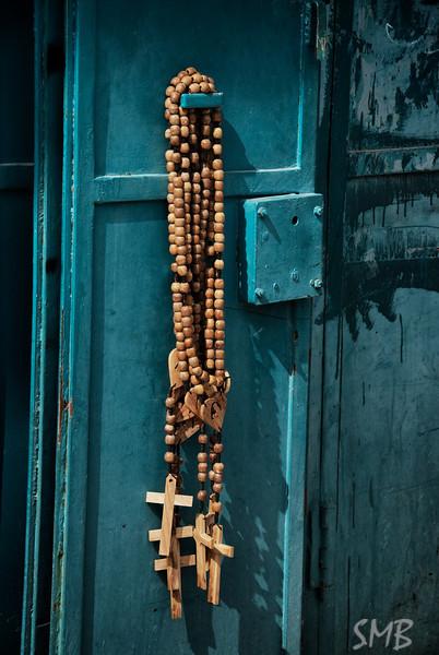 Olive wood crosses<br /> <br /> Bethlehem, Palestine