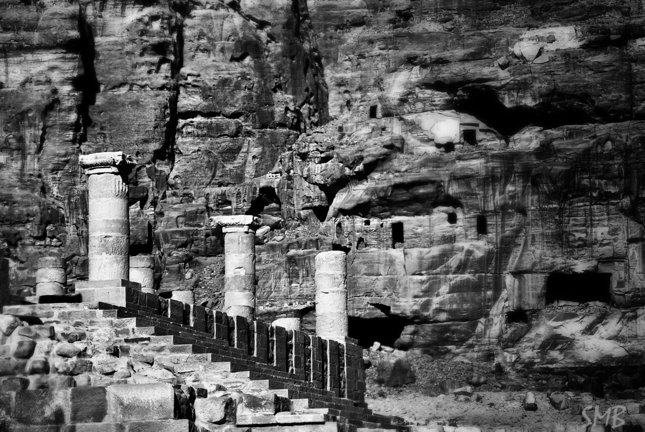Roman columns along the colonnade<br /> <br /> Petra, Jordan