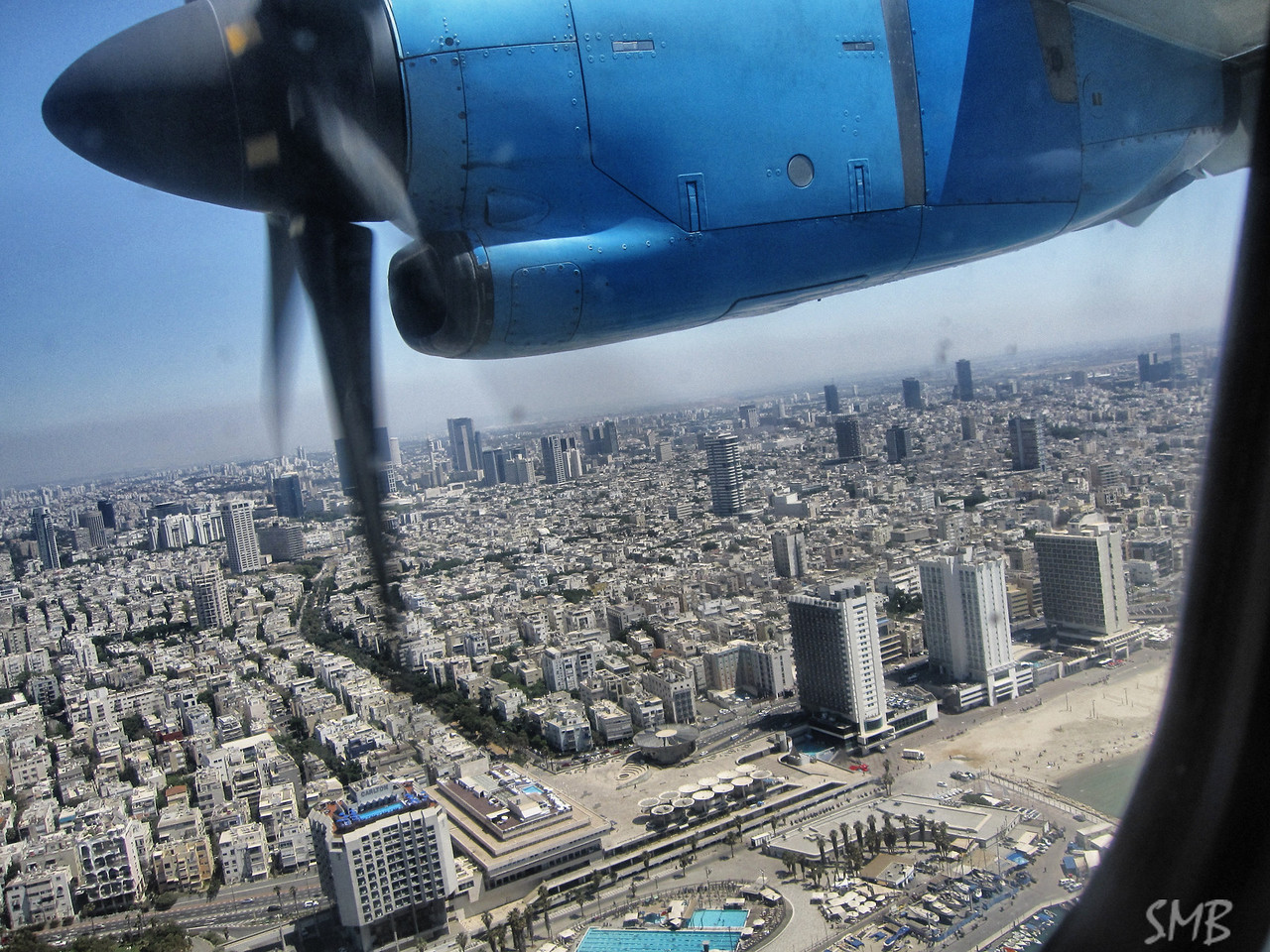 On the plane from Eliat flying over Tel Aviv