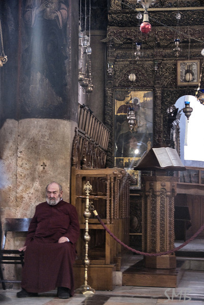 priest in The Church of the Nativity <br /> <br /> Bethlehem, Palestine