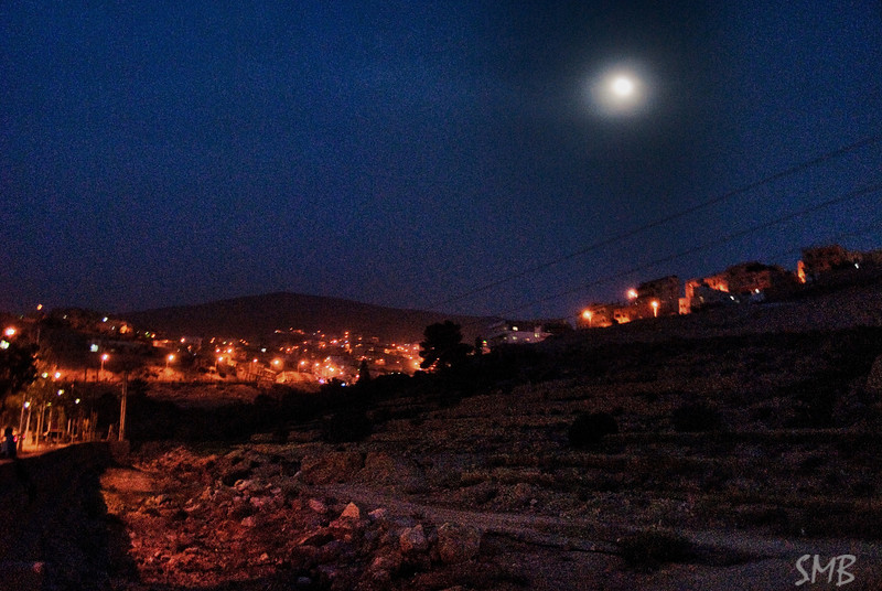 The super moon over Wadi Musa, the village right outside the entrance to Petra, Jordan.