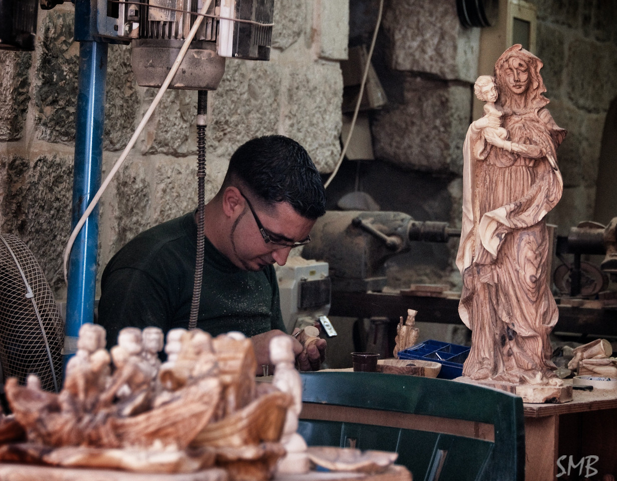 Carving olive wood<br /> <br /> Bethlehem, Israel