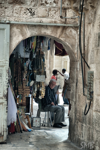 souvenir vendor waiting for us to come through the wall<br /> <br /> Jerusalem, Israel