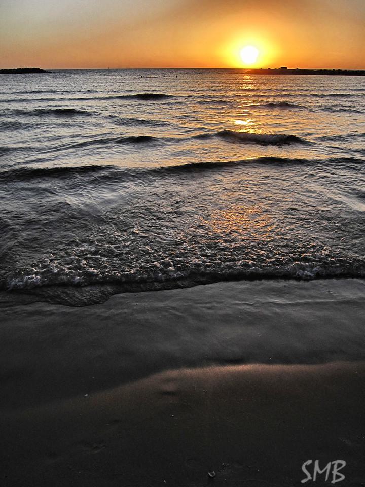 Sunset on the Mediterranean.<br /> <br /> Tel Aviv, Israel