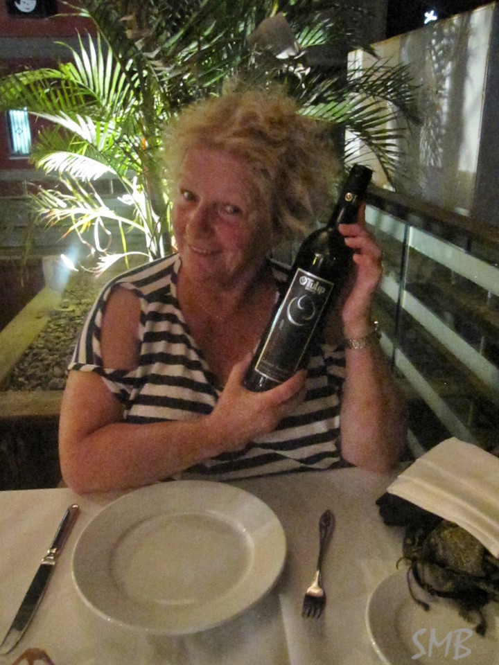 My Mom at our amazing dinner on the beach of the Red Sea. Our wine - Tulip! <br /> It was the perfect day to a long day of traveling and a hot border crossing from Jordan to Israel.<br /> <br /> Eliat, Israel