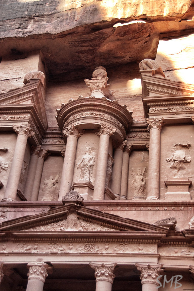 The urn at the top of the Treasury was used for target practice. Thankfully this is now a UNESCO World Heritage site.<br /> Petra, Jordan