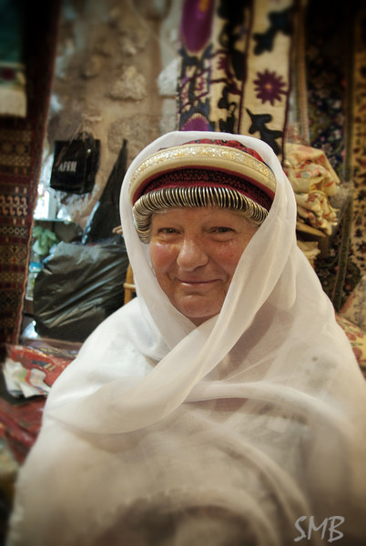 My Mom as a Bedouin princess<br /> in Jospeh's shop<br /> Jerusalem, Israel