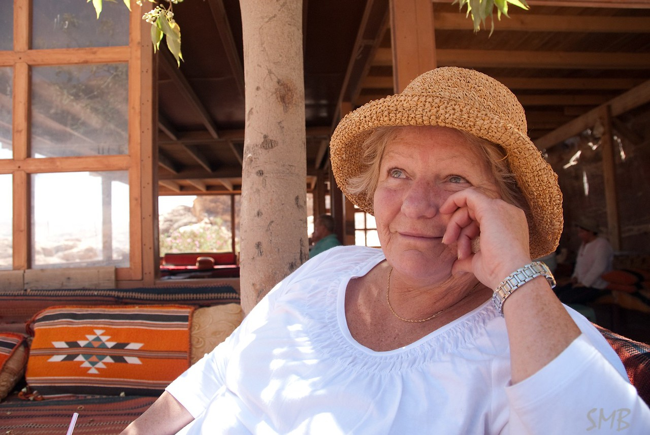 I left my Mom in this cafe across from the Monastery and hiked up beyond to the End of the World. When I got back she was well rested and happy!! It was a very nice spot.<br /> <br /> Petra, Jordan