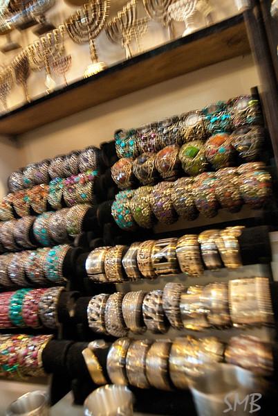 Menorahs and bangles in the market<br /> Jerusalem, Israel