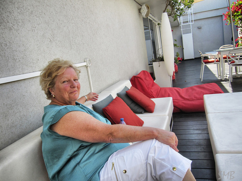My Mom!  Happy to be relaxing at the rooftop terrace of our hotel in Tel Aviv.