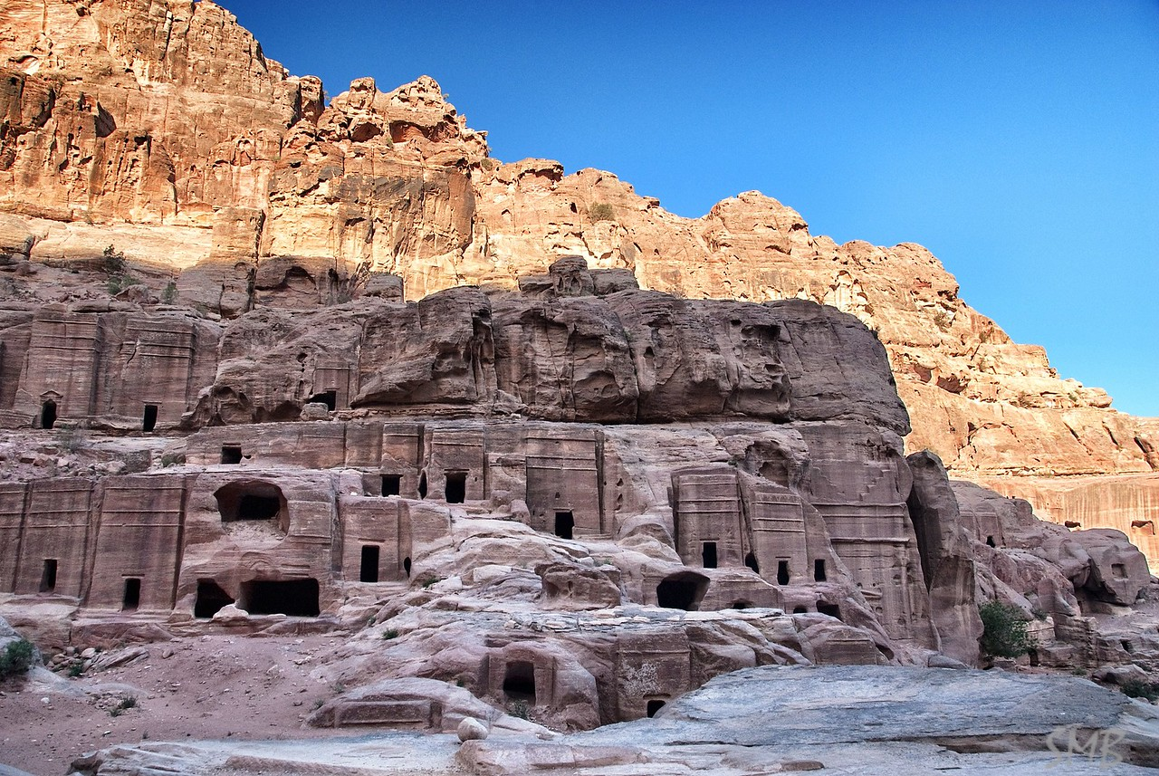 The  Nabataean City before the sun warms it.<br /> Petra, Jordan