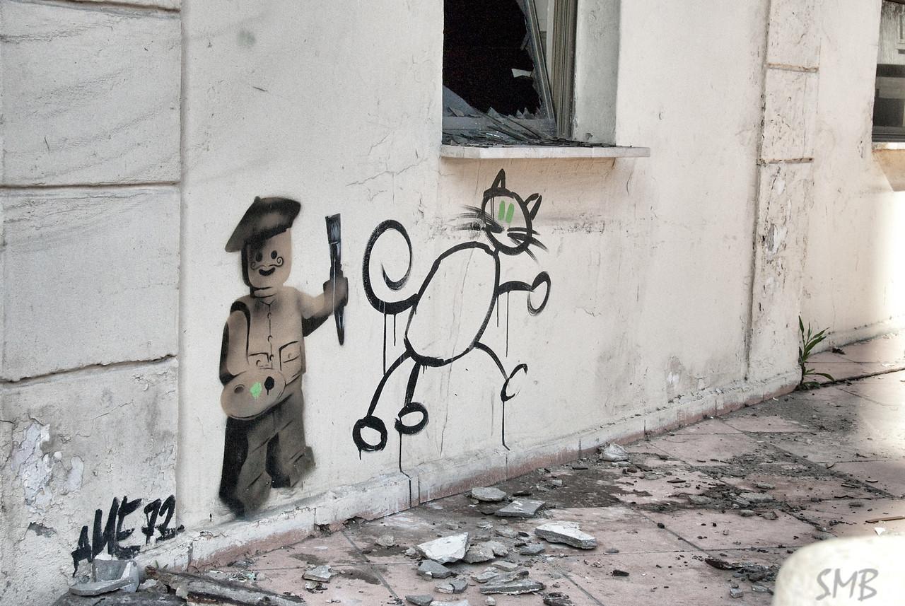 street art of an artist making street art, love it<br /> <br /> Tel Aviv, Israel
