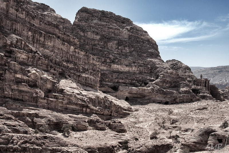 View of the Monastery from the Bedouin tent at the End of the World.<br /> Petra, Jordan
