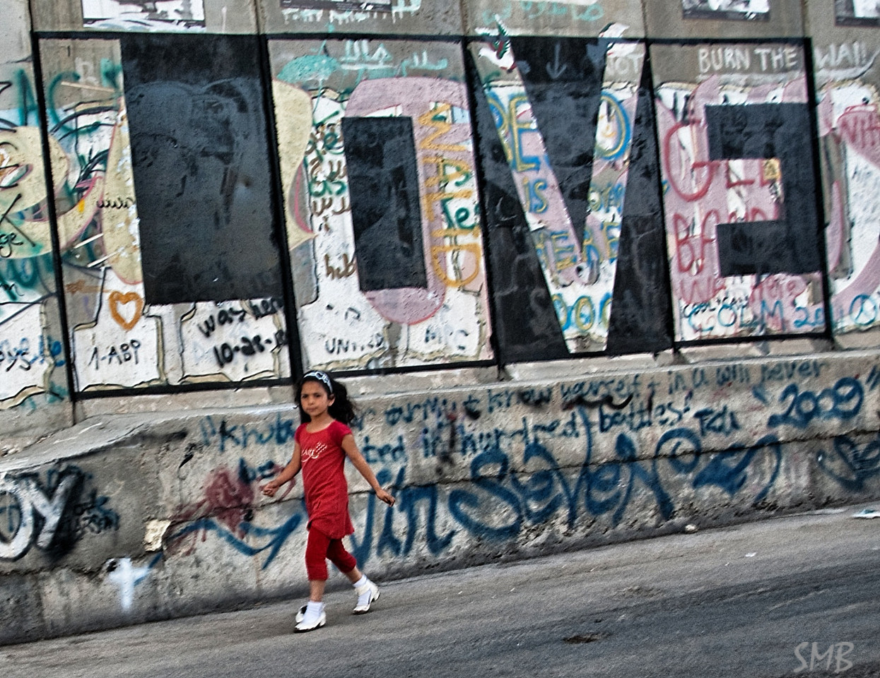 Art on the Israeli West Bank barrier wall.<br /> <br /> Bethlehem, Palestine