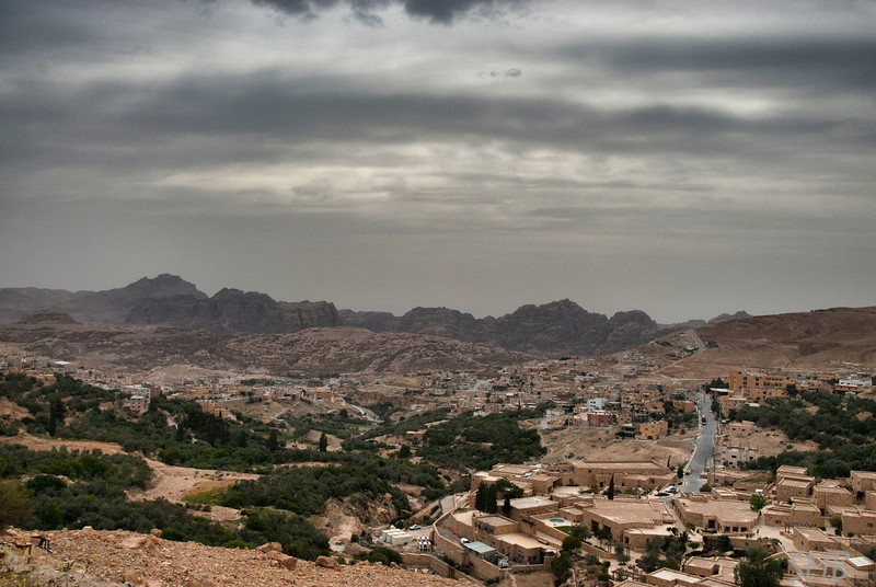 First view of Wadi Musa and the mountains of Petra, Jordan. The taxi driver pulled over so I could capture this.