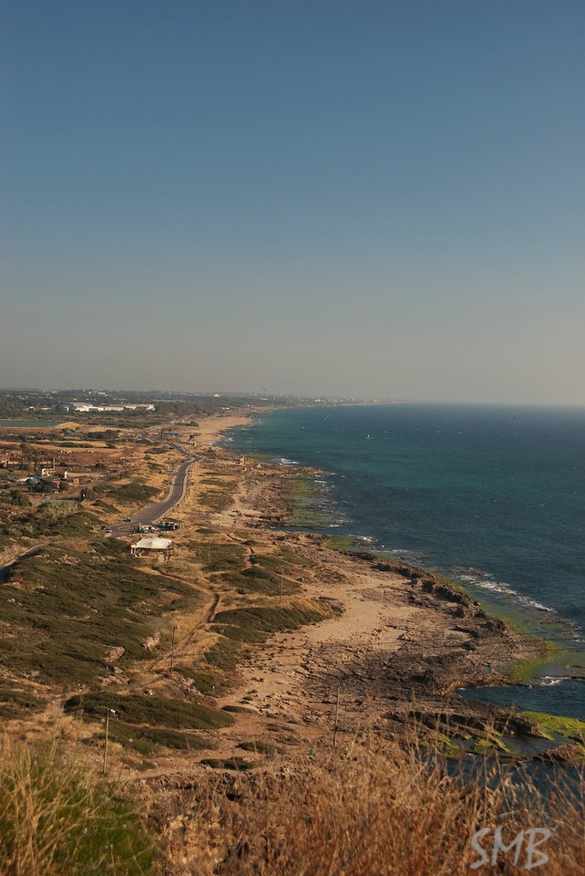 The view of the Israeli coast south from Rosh HaNikra on the Israeli-Lebanese border.