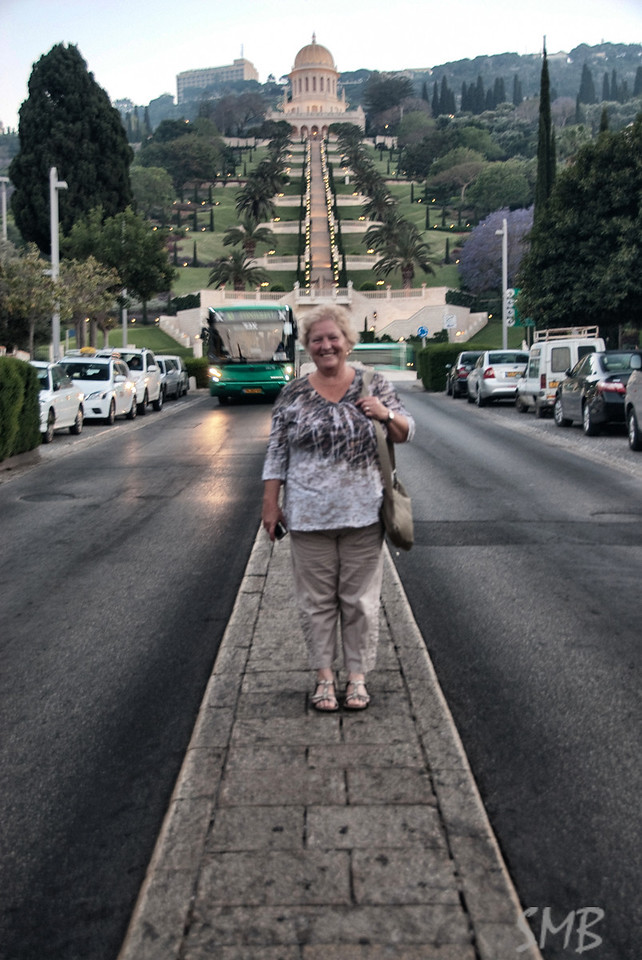 My Mom in the middle of the street...  <br /> with the Bahá'í World Centre behind her... another UNESCO World Heritage Site<br /> <br /> Haifa, Israel