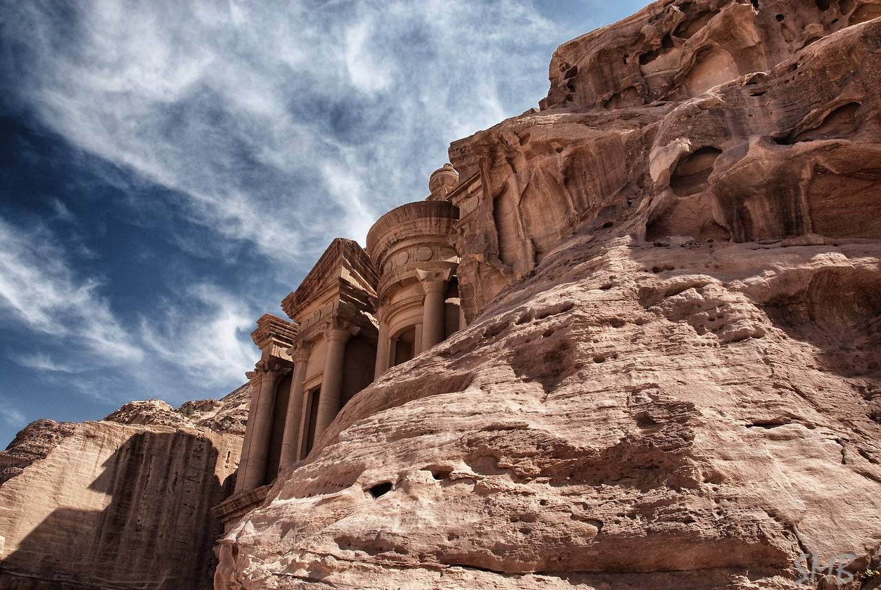 First glimpse of the Monastery<br /> Petra, Jordan