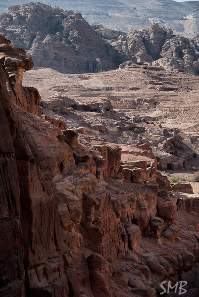 The view back down the 860 stairs<br /> Petra, Jordan