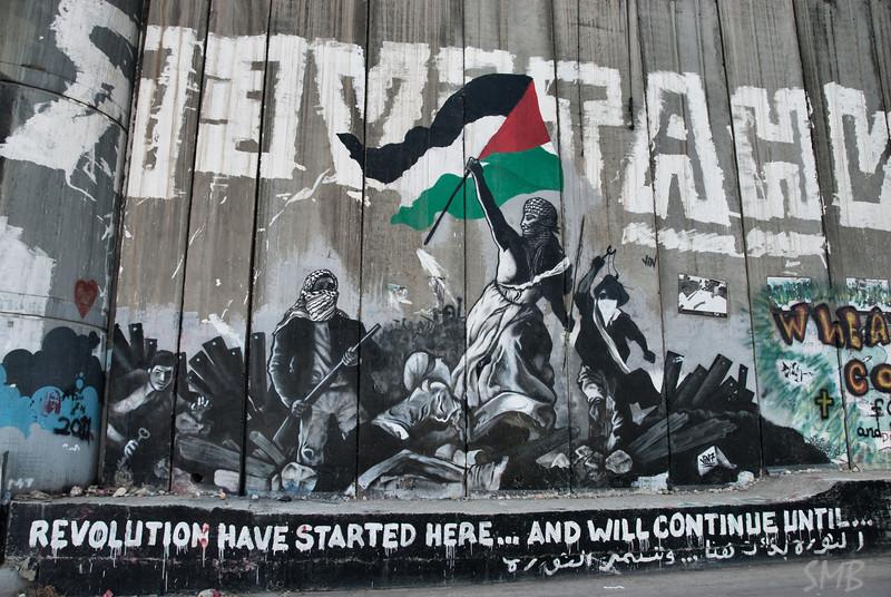 Art on the Israeli West Bank barrier wall.<br /> <br /> Bethlehem, Palestine