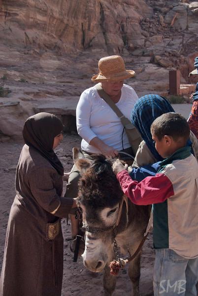 my Mom on a donkey!!<br /> Petra, Jordan