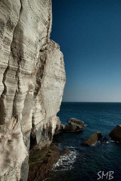 Chalk cliffs into the amazing Mediterranean.<br /> Rosh HaNikra, Israel