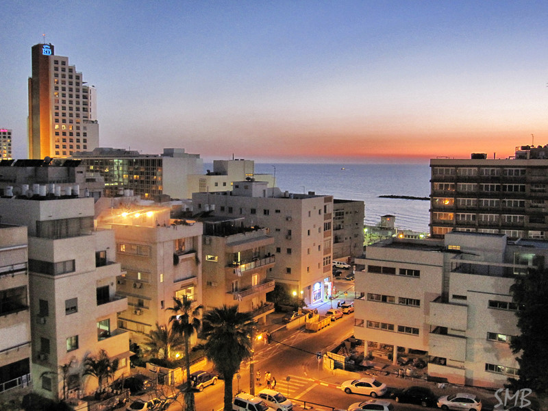 Night time in Tel Aviv, Israel