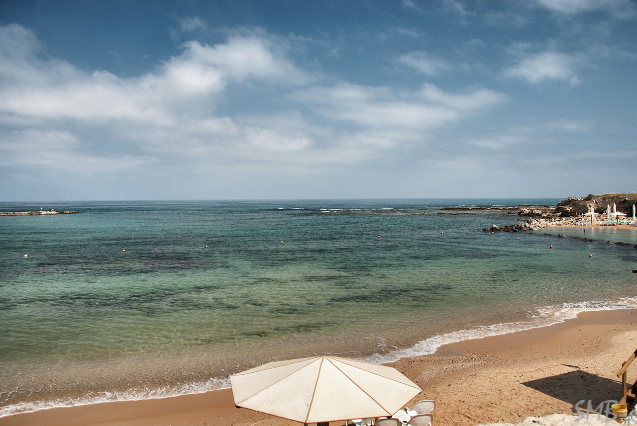 the beach at Caesarea, Israel