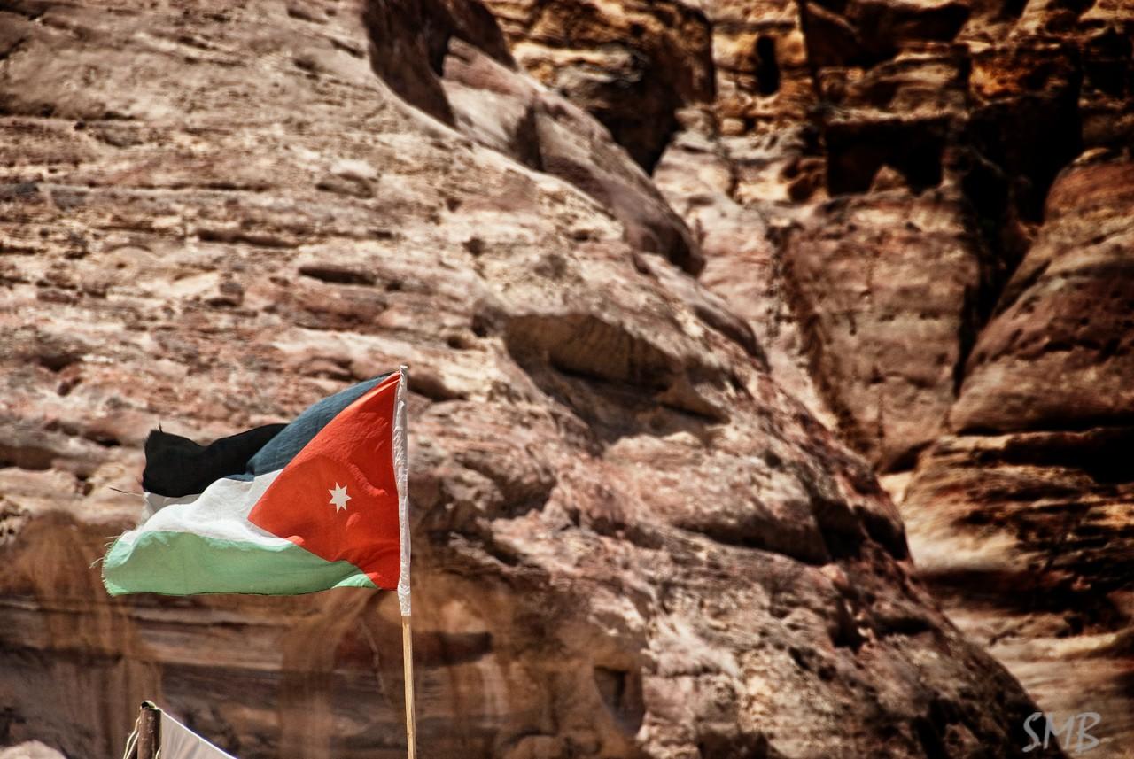 Jordanian flag<br /> Petra, Jordan