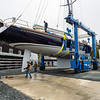 The sloop had to be turned in-line with the concrete pad to get in launch position.